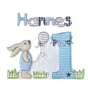 Großes SET – Doodle Hase auf grüner Wiese inkl Wunschzahl sowie Wunschnamen