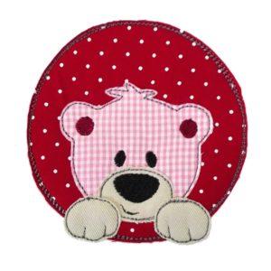 Bügelbild Bär rot/rosa 11cm