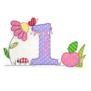 Bügelbild Blumenwiese mit Wunschnamen & Geburtstagszahl 1-9
