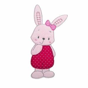 Bügelbild Hasen Mädchen Greta – 18cm rosa/pink