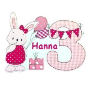 Bügelbild Hase Greta rosa/pink –  Geburtstagszahl 1-9