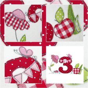Bügelbild Apfel mit Namen & Geburtstagszahl 1-9