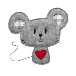 Bügelbild Maus Emilia 11,5cm x 10,5cm