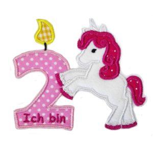 Einhorn Geburtstag mit Wunschzahl und Namen rosa/pink