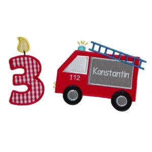 Bügelbild Feuerwehr Set – inkl. Wunschnamen zum Aufbügeln