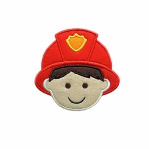 Bügelbild Feuerwehrmann Applikation 10cm x 10cm mit rotem Helm