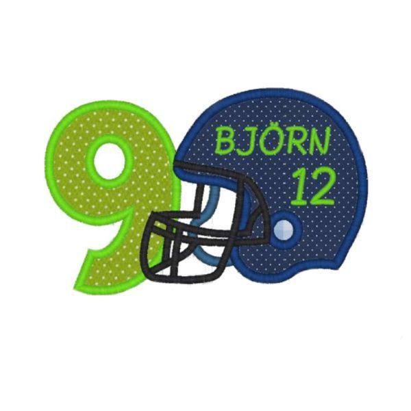 Football Aufnäher mit Wunschzhahl in marine blau apfelgrün Seahawks Football Applikation Zahlen 1-9