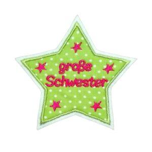 Geschwister Applikation apfelgrün/rot – Sternchen 10cm