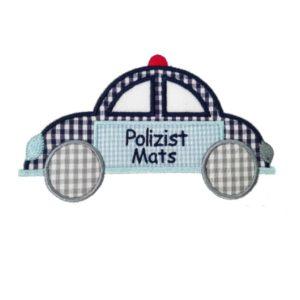 Bügelbild Polizeiuto inkl. Wunschnamen 18x13cm