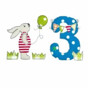 Bügelbild Hasenjunge mit Namen & Geburtstagszahl 1-9