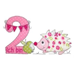 Bügelbild Igel mit Wunschnamen & Geburtstagszahl