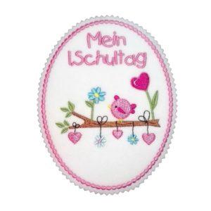Bügelbild Mein 1.Schultag – rosa/pink – Vogelliebe 17,5cm x 13cm
