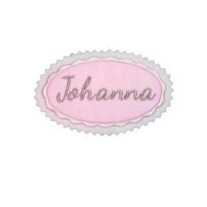 Bügelbild Namensschild oval 7cm rosa mit hellblraun
