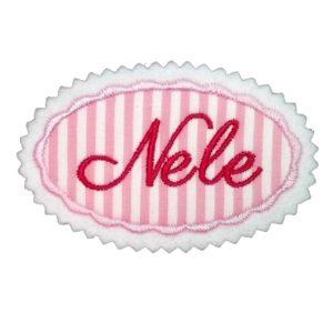 Bügelbild Wunschname oval 7cm rot-rosa zum Aufbügeln