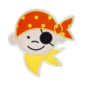 Piraten-Aufnäher orange/gelb zum Aufbügeln 10x8cm