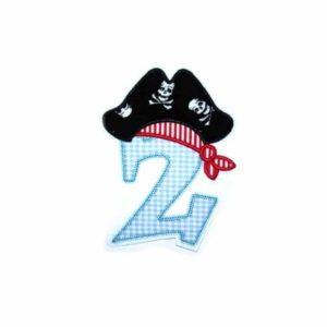 Bügelbild XL Piraten Zahl 14,5cm – Kindergeburtstag Zahlen 1-9
