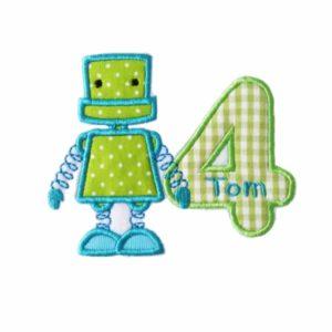 Bügelbild Roboter Geburtstag , Zahlen von 1-9 inkl. Wunschname