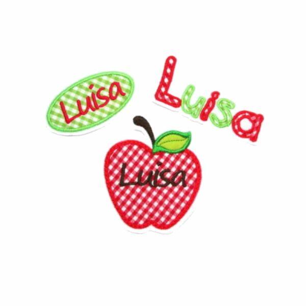 Schönes großes Apfel Set bestehend auf 3 Applikationen gestickt auf weiß