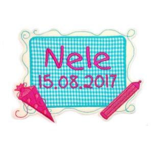 Bügelbild Tafel Einschulung türkis-pink mit Wunschdaten