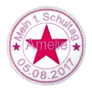Bügelbild Mein 1.Schultag rosa/pink – Stempelaufnäher – 13cm