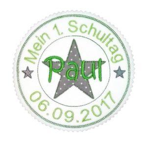Bügelbild Mein 1.Schultag olivgrün/grau – Stempelaufnäher – 13cm