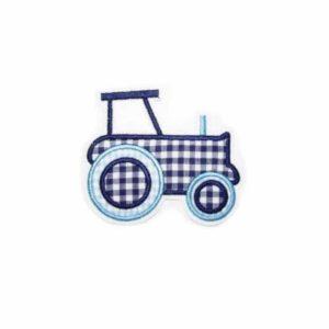 Bügelbild Traktor – Bauernhoffahrzeug in hellblau/marineblau