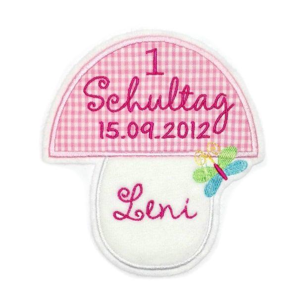 XL Pilzaufnäher in weiß mit rosa pilzkopf inkl.Wunschdaten und schmetterling