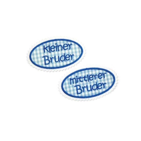 geschwister aufnäher hellblau azurblau oval gestickt mit hellblau kariertem stoff