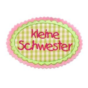 Applikation Geschwisterkind apfelgrün/pink