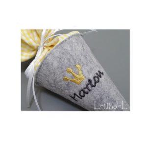 Wollfilz Schultüte – gelb kariert – 22cm – verschiedene Farben