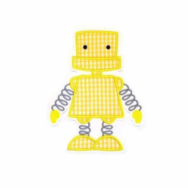 Roboter Aufnäher gelb grau XL 17,5cm gestickt auf weiß in gelb kariert mit grau