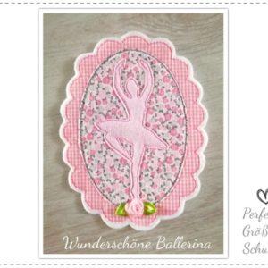 XL Applikation Ballerina in rosa/grau 17,5cm x 13cm