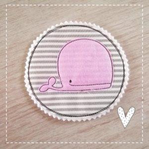Bügelbild Wal in rosa 11cm