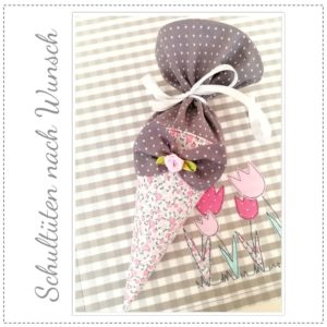 Schultüte – rosa/grau – 22cm – inkl. Schleifchen VERSANDFERTIG