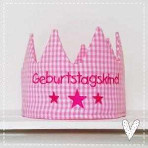 Geburtstags-Krone rosa pink inkl.Wunschname