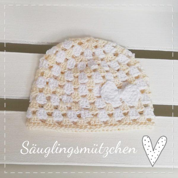 Sommermütze – 0-6 Monate – Granny Muster mit Schleife – weiß/creme