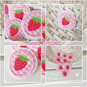 Kleine Erdbeer – Applikation – 4cm – zum Aufbügeln
