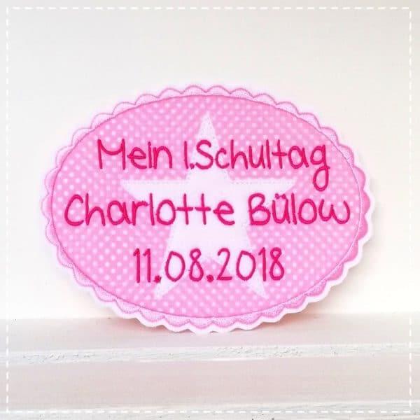 Aufnäher für die Schulkinder in rosa mit pink und weißem Stern 18x13cm