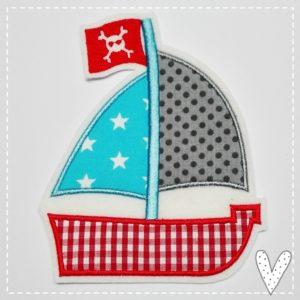 XL Piratenschiff Applikation zum Aufbügeln – rot/türkis