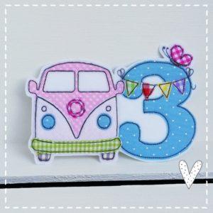 VW bulli Aufnäher in Mädchenfarben 18x13cm mit Wunschzahl Applikation für den Kindergeburtstags 1-9