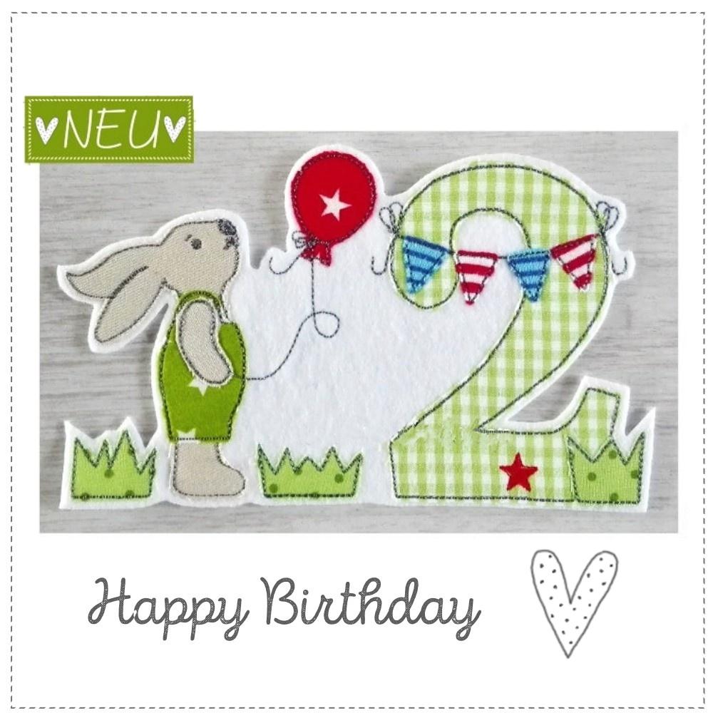 Geburtstags Hase zum Aufbügeln in grün gehalten 18x13cm groß gestickt afu weißen Textilfilz