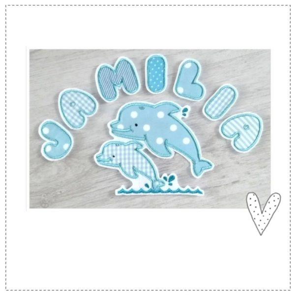Großes Delphin Set zum aufbügeln bestehend aus einzelnen Buchstaben sowie einem Delphinpaar in hellblautönen