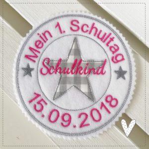 Bügelbild Mein 1.Schultag pink/grau – Stempelaufnäher – 13cm