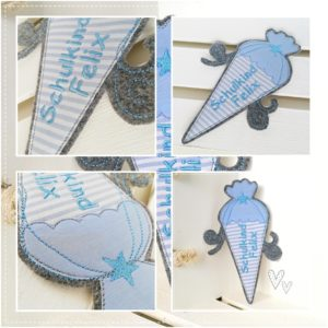 Bügelbild Schultüte mit Wunschnamen 19x14cm / hellblau & hellgrau