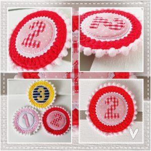 Anstecker für den Geburtstag – rosa/rot – 11cm mit Wunschzahl
