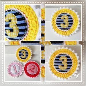 Anstecker für den Geburtstag – gelb/blau – 11cm mit Wunschzahl
