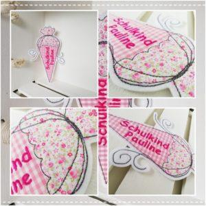 Bügelbild Schultüte mit Wunschnamen 19x14cm / rosa & pink
