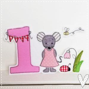 Bügelbild zum Geburtstag mit Namen & Geburtstagszahl 1-9 rosa/grau