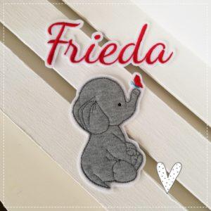 Bügelbild Maxi Set – Wunschname sowie Elefantenmädchen
