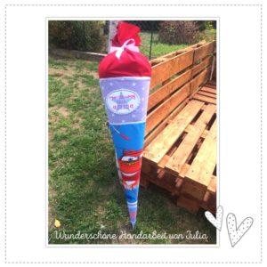 Applikation – rot / azurblau – passend für die Schultüte – 18cm x 13cm